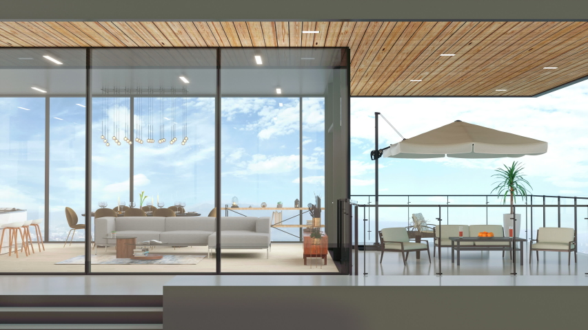 Luxury house with sky view in modern design - 3d Rendering Royalty-Free Stock Footage #1030040411