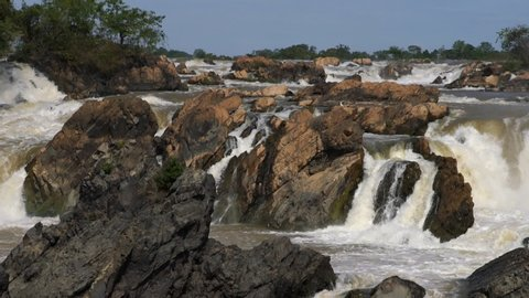 Lee Phee waterfall, Loas Landscape of Lee Pee waterfall from the Mekong river in Champasak, Southen of Laos, Zoom out.