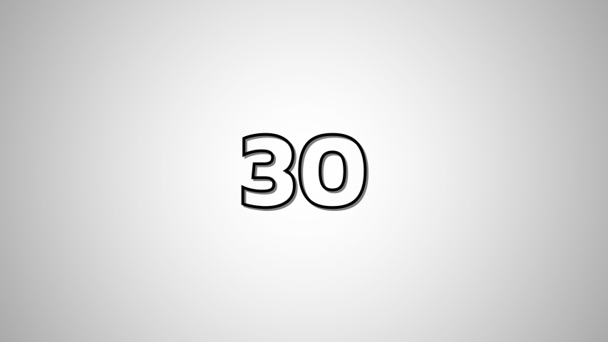 FLAT Black Text Countdown numbers from 30 to 0 On White Blackground. | Shutterstock HD Video #1030056839
