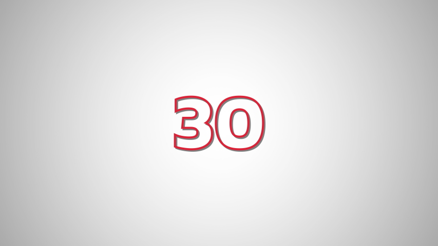 FLAT Red Text Countdown numbers from 30 to 0 On White Blackground | Shutterstock HD Video #1030056842