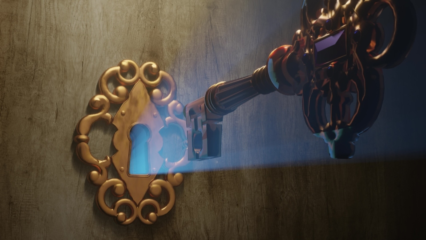 A golden brass key unlocks the old door lock with the light shining through the keyhole. The door opens and it reveals the green screen that fills the frame.   Shutterstock HD Video #1030077140