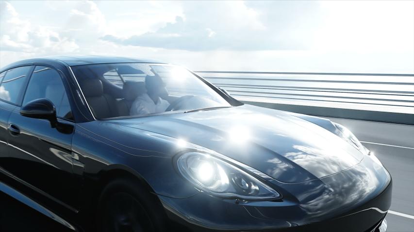 3d model of black sport car on the bridge. Very fast driving. realistic 4K animation.   Shutterstock HD Video #1030085768