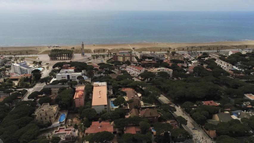 Aerial view in Castelldefels, coastal village of Barcelona, Spain. 4k Drone Video | Shutterstock HD Video #1030094513