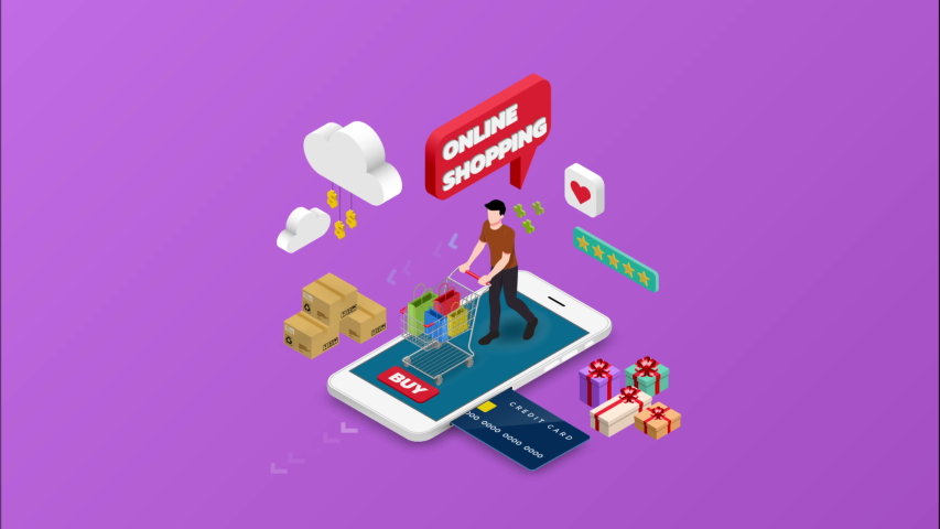 Isometric animation of man shopping on smart phone. E-commerce online concept male person with shopping cart, technology store. 4k 60fps | Shutterstock HD Video #1030097300