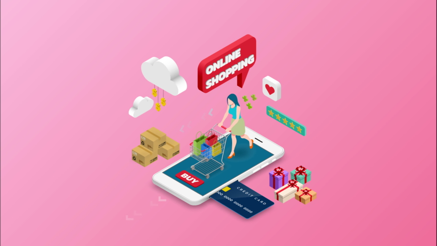 Isometric animation woman shopping on smart phone. E-commerce online concept female person with shopping cart, technology store. 4k 60fps | Shutterstock HD Video #1030097306