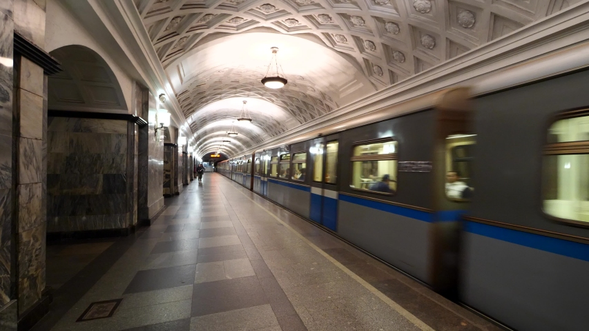 MOSCOW - MAY, 2018: Kurskaya Metro station. One of the most famous Metro stations in the world. The Moscow subway opened in 1938.