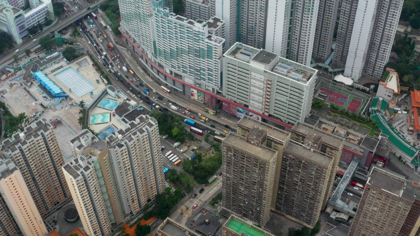 Wong Tai Sin, Hong Kong 17 May 2019: Top view of Hong Kong residential district #1030145717