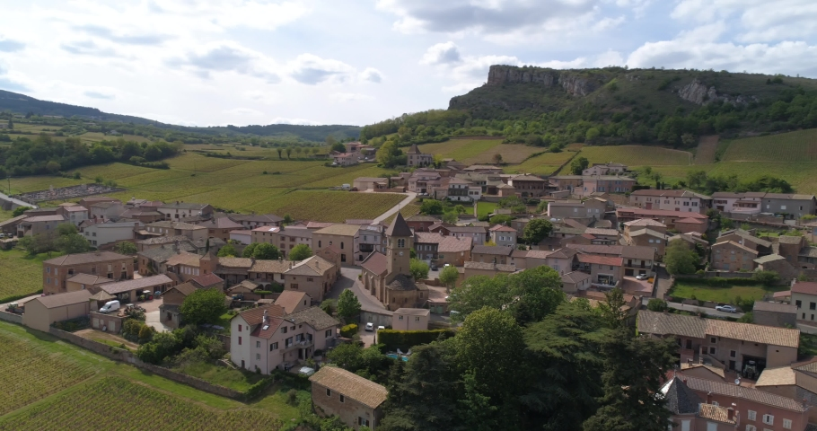 Solutré-Pouilly aerial rotation, Burgundy, France | Shutterstock HD Video #1030154036