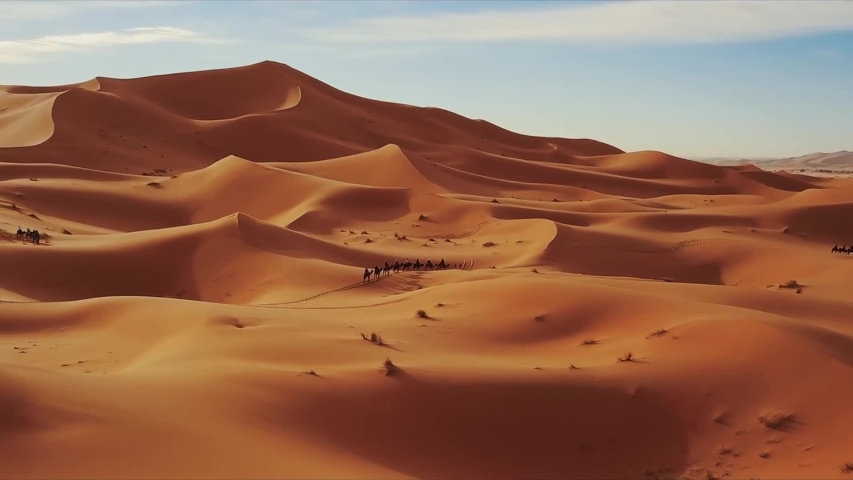 Aerial top view on sand dunes in Sahara desert, Africa,Morocco
