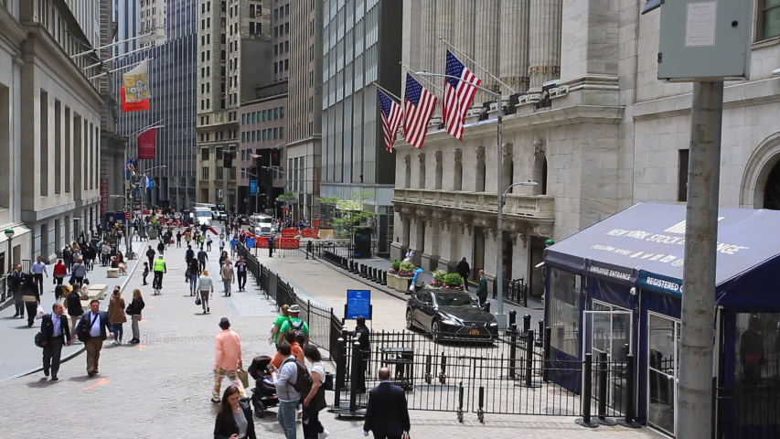 """New York- May 5 2019: facade of new york stock exchange in New York. it is so called """"The Big Board"""", it located in wall street and  heart of the american stock market"""
