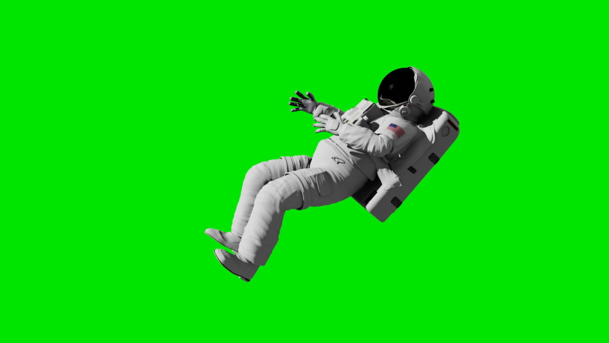 Astronaut soars in space on a green background. #1030208246