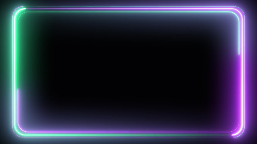 Abstract seamless pattern of neon glowing ultraviolet lines, modern fluorescent light, neon box, pattern for LED screens projection technology, loop 4k background, blue purple green spectrum #1030218650