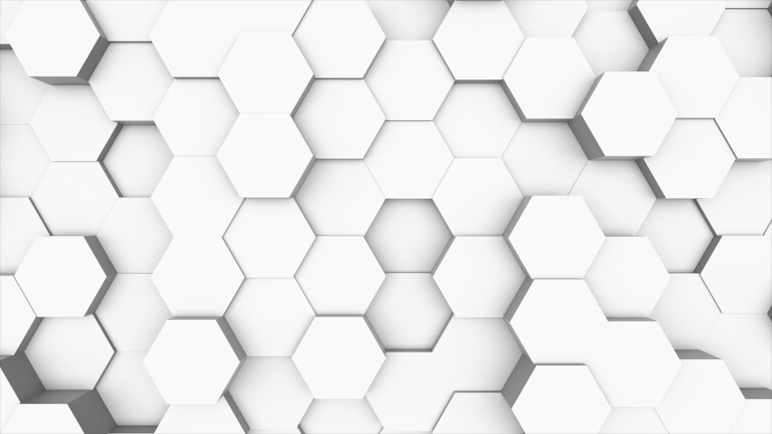 Random waving motion abstract background from hexagon geometric surface loop: light bright clean minimal hexagonal grid pattern, canvas in pure wall architectural white. Seamless loop cg 3d animation | Shutterstock HD Video #1030218683