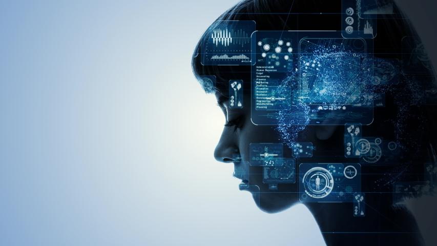 AI (Artificial Intelligence) concept. Communication network. | Shutterstock HD Video #1030229045