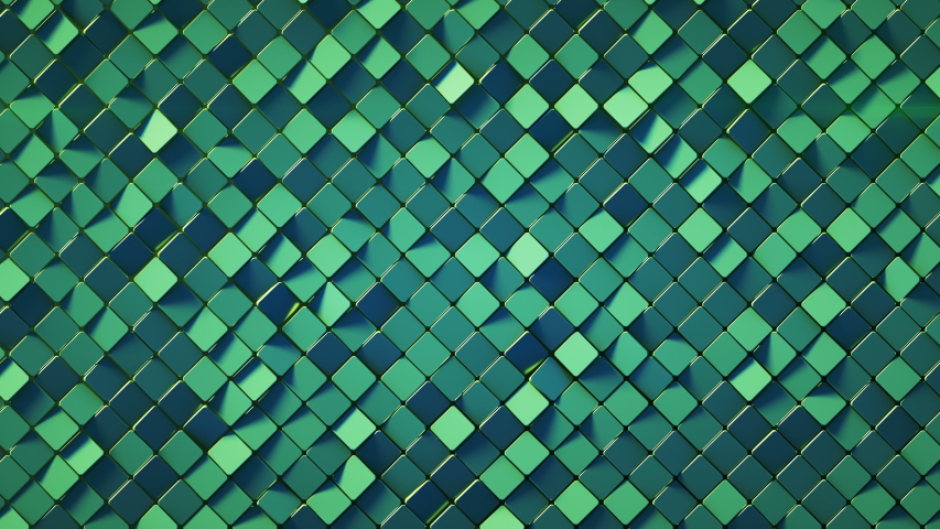 Green wall with rhombus shapes. Abstract computer graphics. 3D render seamless loop animation 4k UHD 3840x2160