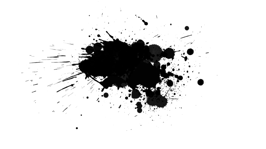 Black inks drops on white background