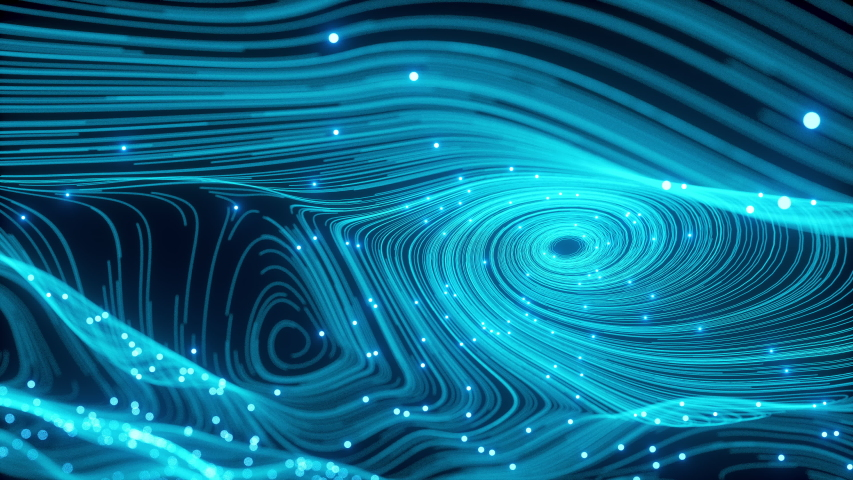 The Perfect Spherical Movement of the fiber optic Information Stream. Neon Balls with Dust of the Universe with Stars on a Waving Curves. Motion of Abstract Particles Shot. 3d Animation VJ Footage | Shutterstock HD Video #1030261262