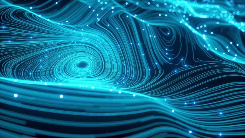 Digitalization Abstraction Waving Backdrop Blue Blurred Animated of Particle and Line. Beautiful Universe Dust with Movement Stars. Virtual Space Elements with DOF. Lighting Balls Along Neon Curves | Shutterstock HD Video #1030261274