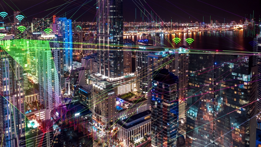 Hyperlapse timelapse of Night city traffic in 4K with Connected Through 5G. Wireless network, data communication,mobile technology concept, cloud computing, artificial intelligence, Ai technology. Royalty-Free Stock Footage #1030261676