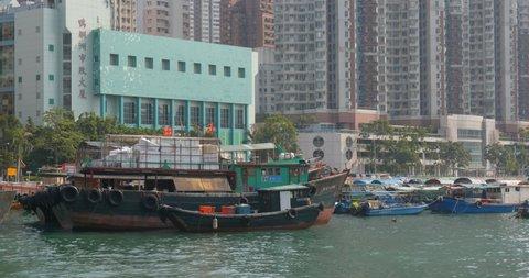 Aberdeen, Hong Kong 12 May 2019: Hong Kong fishing port inside typhoon shelter
