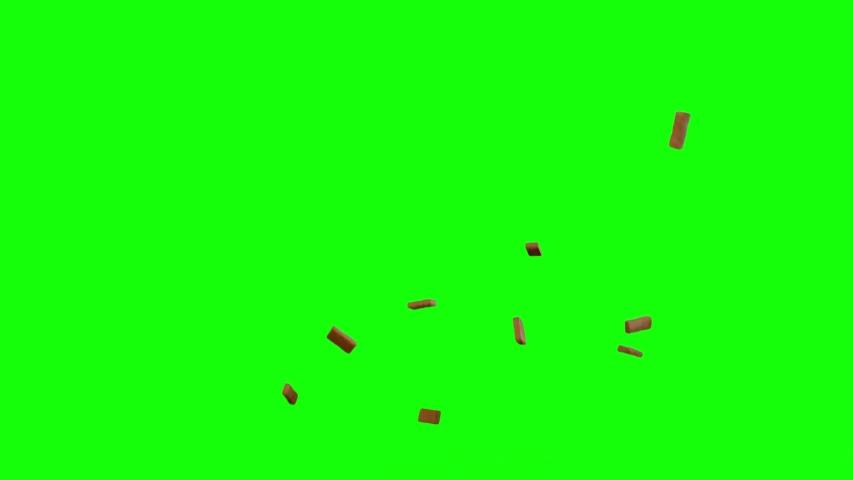 Brick Debris in top and side views, brick greenscreen, Destruction Falling and flowing bricks Debris Green Screen, explode, explosion, fall apart, use in movies, Destruction Fall Bricks, wall explode | Shutterstock HD Video #1030268222