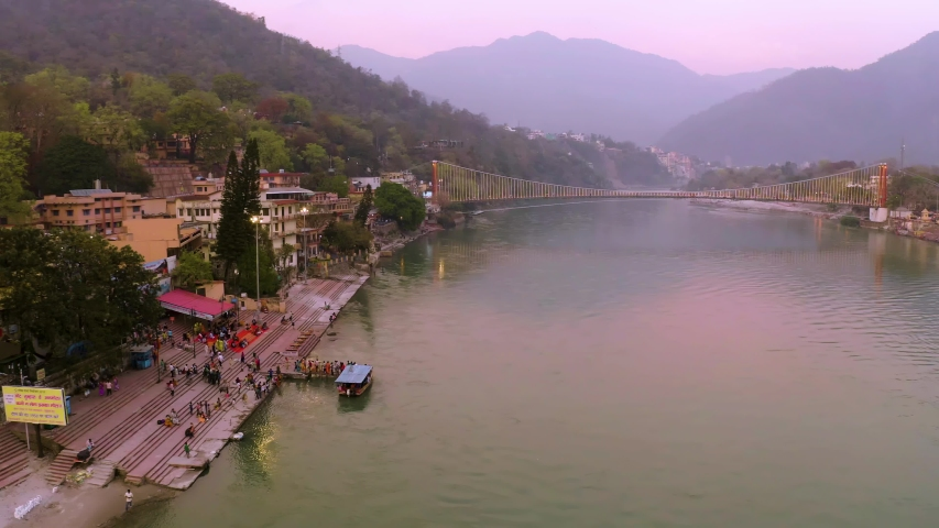 Aerial view on Rishikesh, India, 4k drone footage