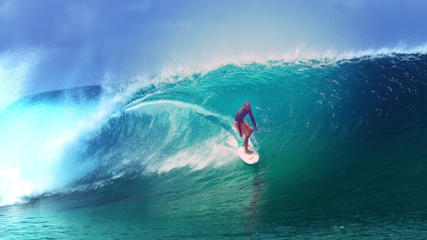 SLOW MOTION, CLOSE UP: Two young surfers watch their friend ride a huge barrel ocean wave glimmering in the sun. Pro surfboarders enjoying their summer holiday in Tahiti by riding epic tube waves.   Shutterstock HD Video #1030278740