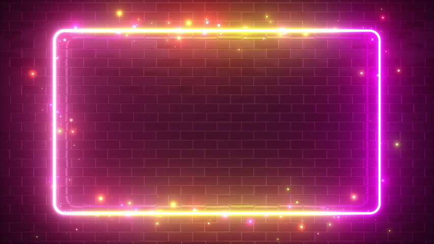 Rectangular neon sparkling luminous form on the background of a brick reflective surface. Modern ultraviolet fluorescent light spectrum. Seamless loop 4k 3d render yellow purple #1030283294