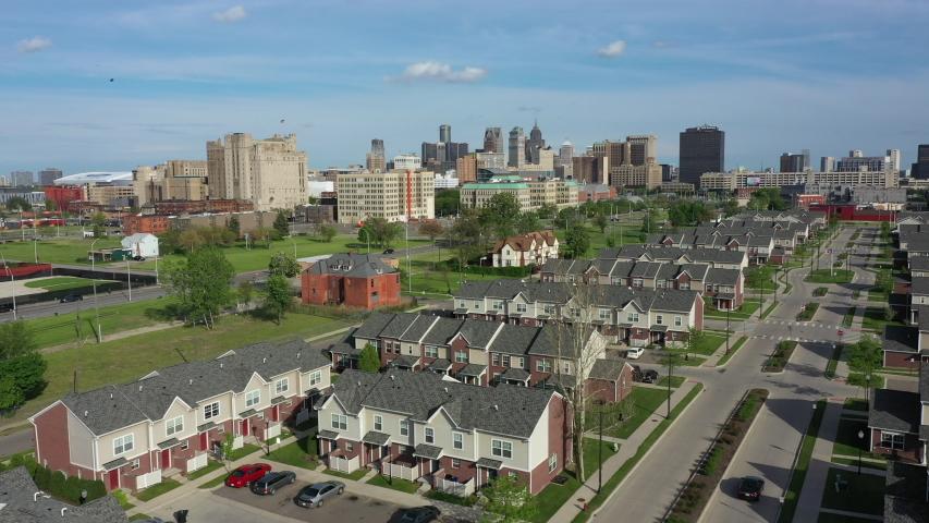 Residential area in Detroit Michigan Aerial
