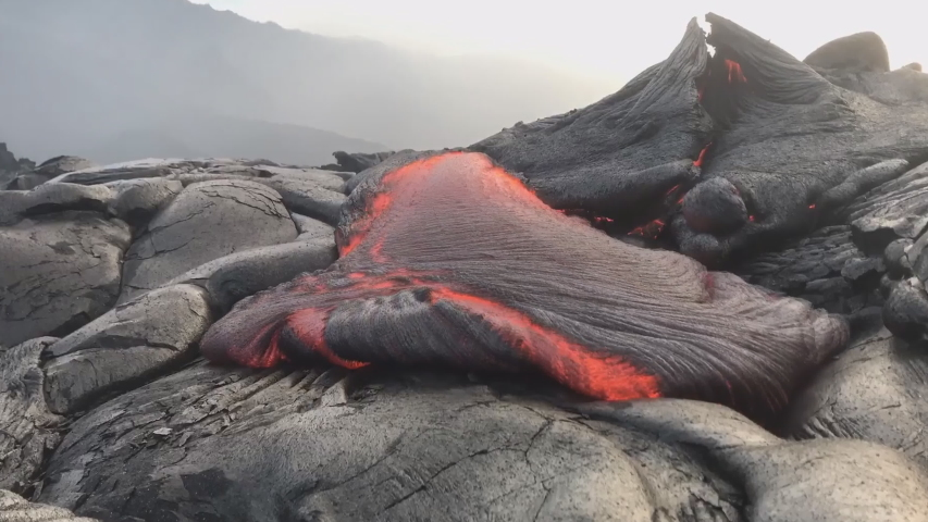 Close up lava flow in lava field Hawaii volcanoes National Park (time-lapse)