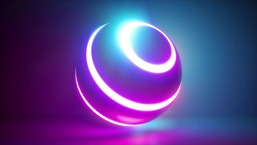 3d rendering, abstract neon background, white rings going over ball illuminated with pink blue light, isolated object in ultraviolet spectrum, looped animation