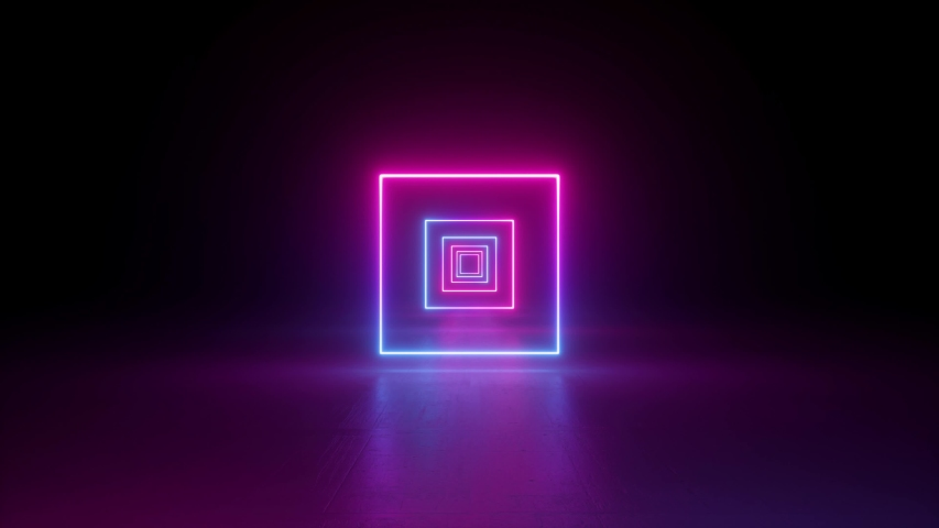 abstract neon background, flying back through rectangular corridor, long tunnel, appearing glowing pink blue square shapes, ultraviolet spectrum