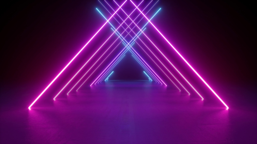 abstract neon background, flight forward through triangular corridor, appearing glowing pink blue lines, ultraviolet spectrum