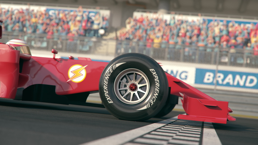 Side view of a red formula one race car driving across the finish line in slow motion with cheering fans on the grandstands - close-up front wheel - realistic high quality 3d animation