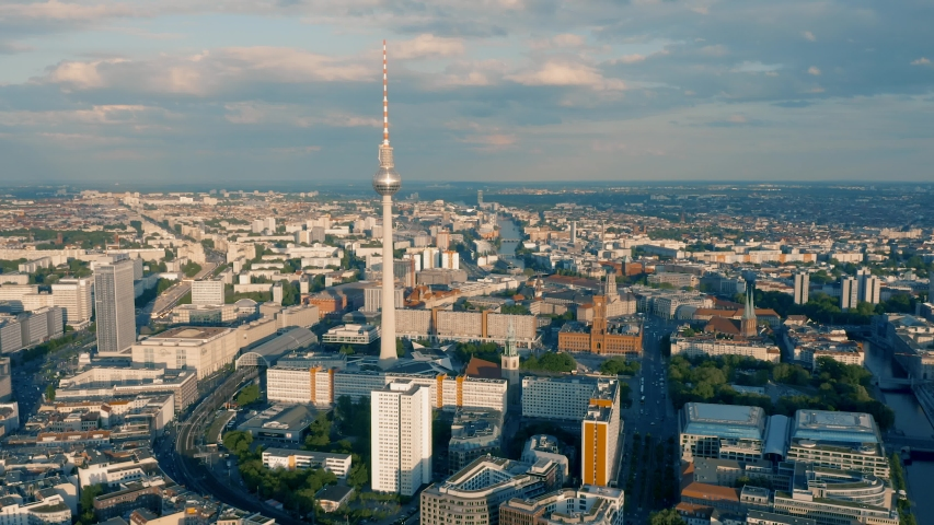 Cityscape of Berlin. Aerial view | Shutterstock HD Video #1030353152