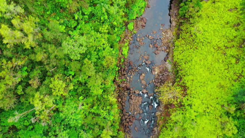 Aerial Drone - Scenic Akaka Tropical Jungle Waterfalls - Big Island Hawaii   Shutterstock HD Video #1030365344