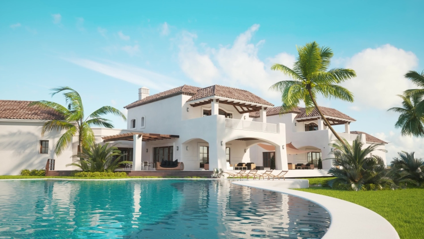 4k video of Recreation near the pool in expensive mansion. 3d render of Private villa. Expensive mansion in oriental style. Pool near the house.