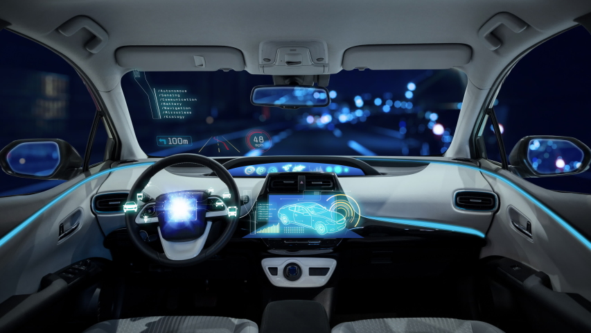 Cockpit of an autonomous car. Driverless vehicle.