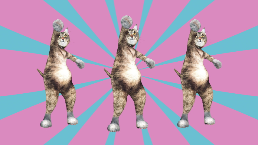 Comic tomcats waving paws and tail in an energetic clip summer mood. A cute brown pussycats dancing together in a modern style in tunnel colour space. Cool and the best moves in stylish of 80s and 90s | Shutterstock HD Video #1030411088