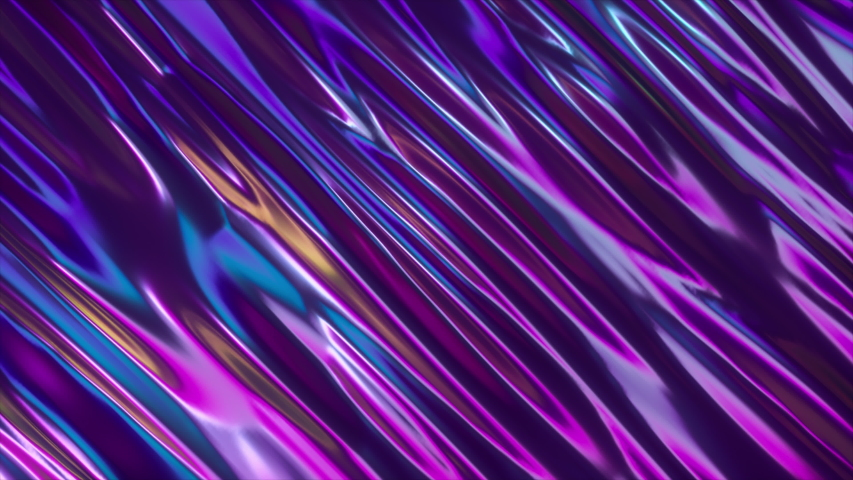 Abstract 3d render holographic oil surface background, foil wavy surface, wave and ripples, ultraviolet modern light, neon blue pink spectrum colors. Seamless loop 4k animation #1030426040