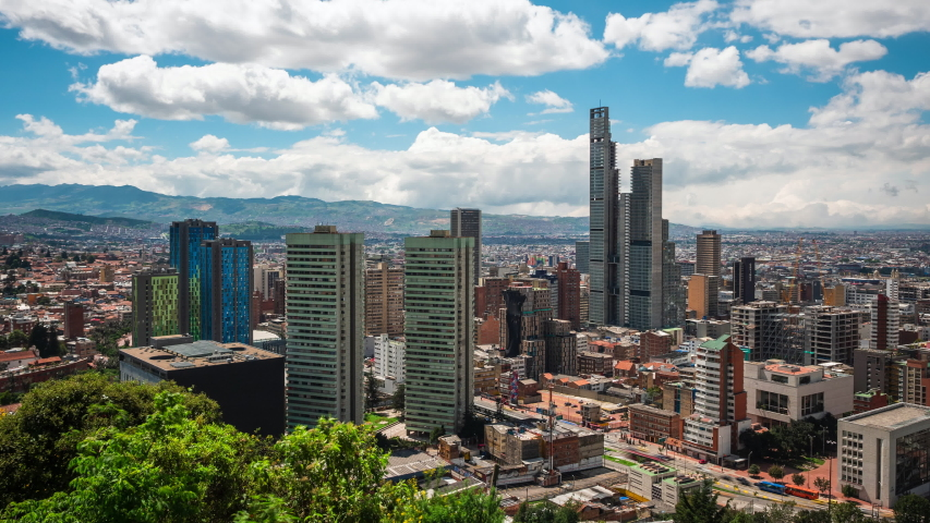 Bogota, Colombia, time lapse view of Bogota cityscape on a sunny day. Bogota is the capital of Colombia and one of the largest cities in South America.