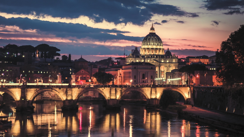 Hyper lapse of St. Peter's Basilica, Sant Angelo Bridge, Vatican, Rome, Italy | Shutterstock HD Video #1030456532
