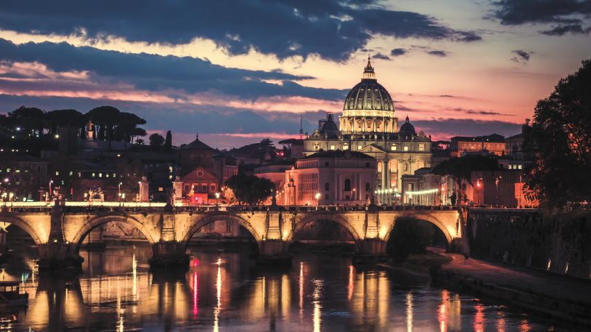 Hyper lapse of St. Peter's Basilica, Sant Angelo Bridge, Vatican, Rome, Italy