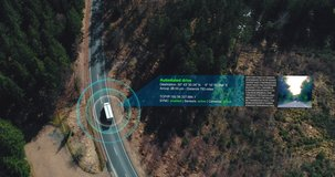 autonomous self Driving truck car driving on a forest highway with technology assistant tracking information, showing details. Visual effects clip