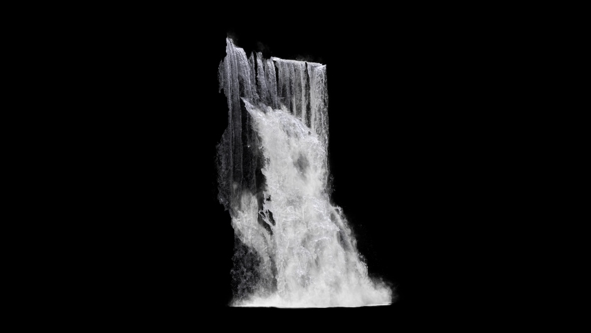 huge waterfall texture seamless loop, 4k, isolated on black with matte , beautiful compositing element #1030476644