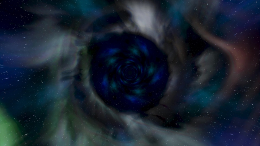Flying backwards in beautiful galaxy tunnel with space dust, time travel concept. Animation. Rotating space funnel with green, blue, and grey clouds on black background.
