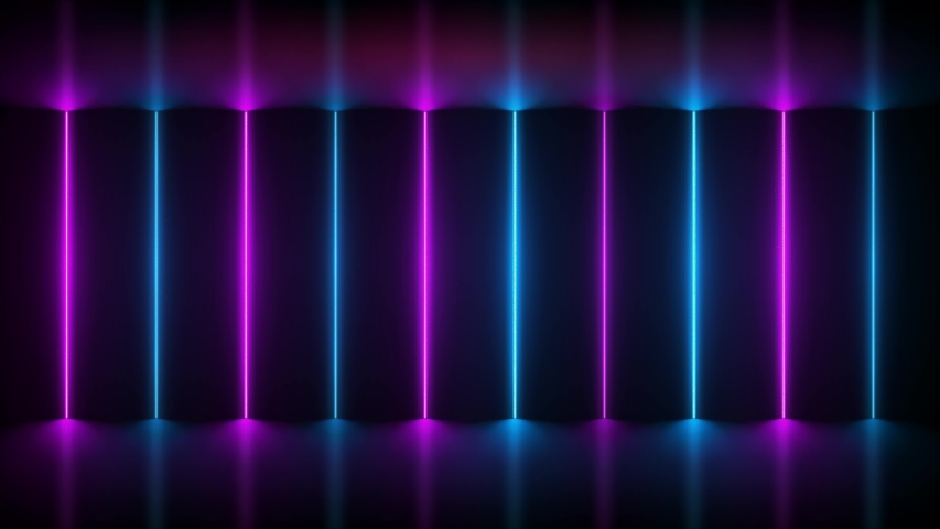 Neon background. Purple and blue neon background shimmers on black background. Bright live neon background. 4K seamless pattern #1030512998
