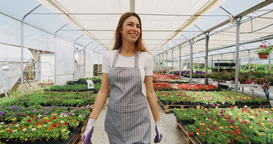 Slow motion of an young woman gardener in apron is walking satisfied with her work in a plant shop greenhouse in a sunny day.