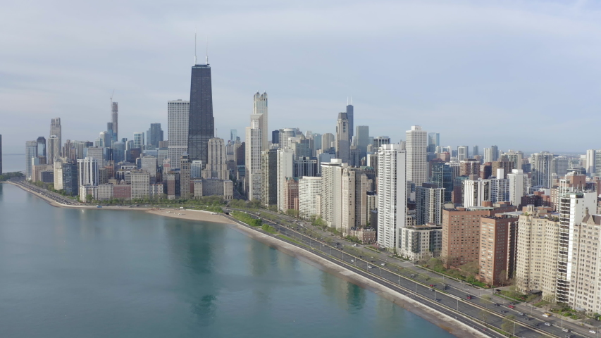 Chicago downtown skyline buildings aerial   Shutterstock HD Video #1030560035