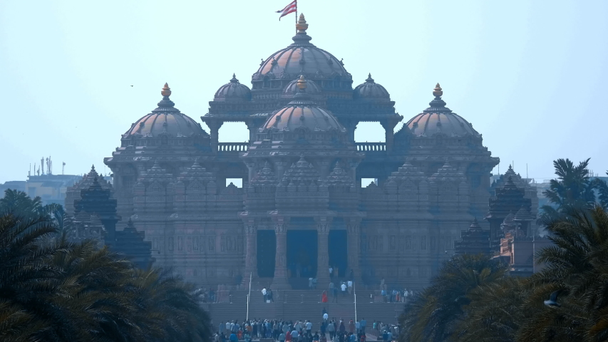Akshardham is Hindu temple complex in Delhi, India, the famous national landmark built in 2005 years is the grandest hindu temple in the world   Shutterstock HD Video #1030568294